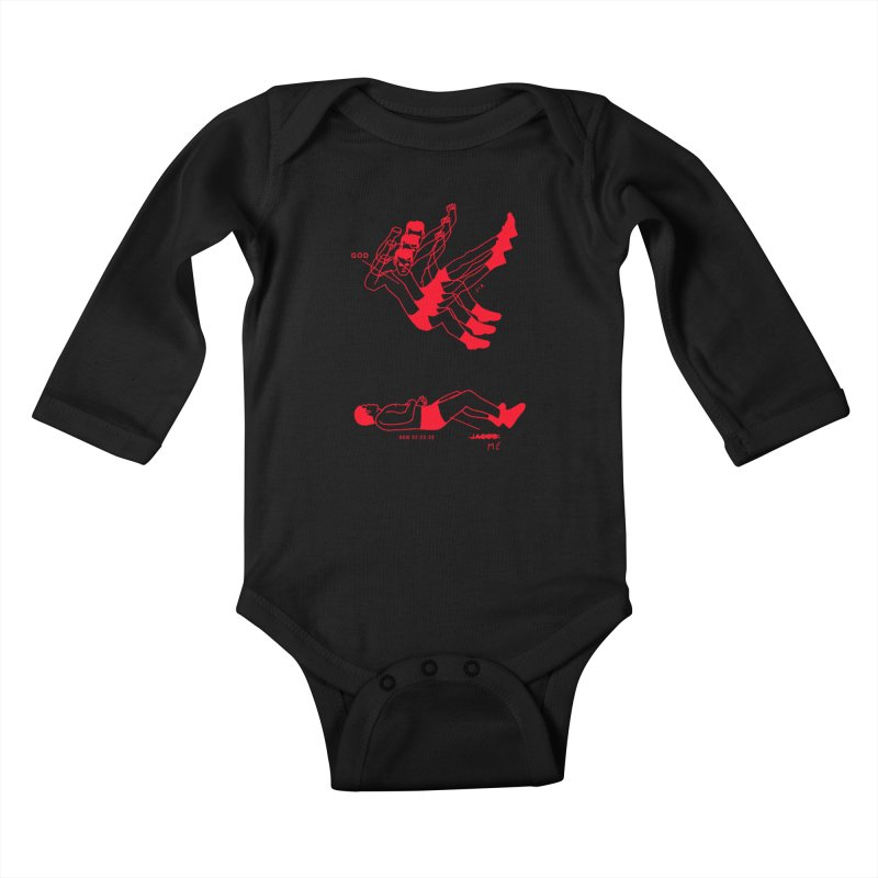 WRESTLING WITH GOD (RED) Kids Baby Longsleeve Bodysuit by Jamus + Adriana