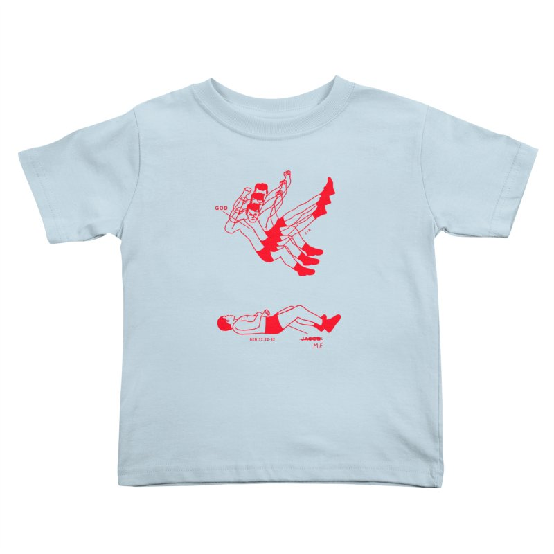 WRESTLING WITH GOD (RED) in Kids Toddler T-Shirt Baby Blue by Jamus + Adriana