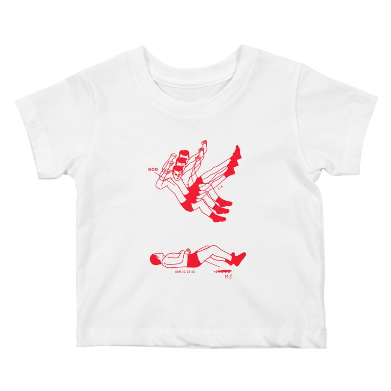 WRESTLING WITH GOD (RED) Kids Baby T-Shirt by Jamus + Adriana