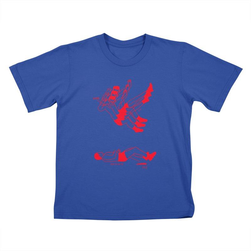 WRESTLING WITH GOD (RED) Kids T-Shirt by Jamus + Adriana