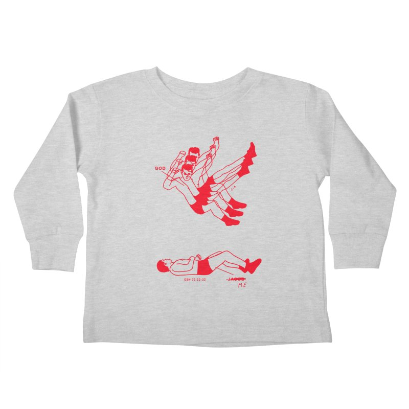 WRESTLING WITH GOD (RED) Kids Toddler Longsleeve T-Shirt by Jamus + Adriana