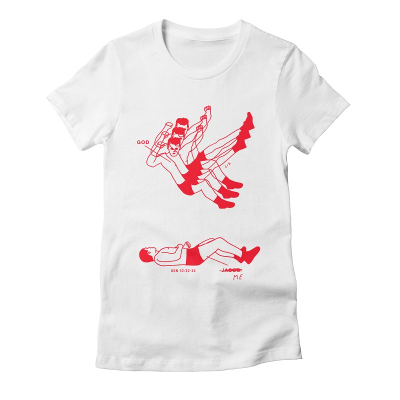 WRESTLING WITH GOD (RED) Women's Fitted T-Shirt by Jamus + Adriana