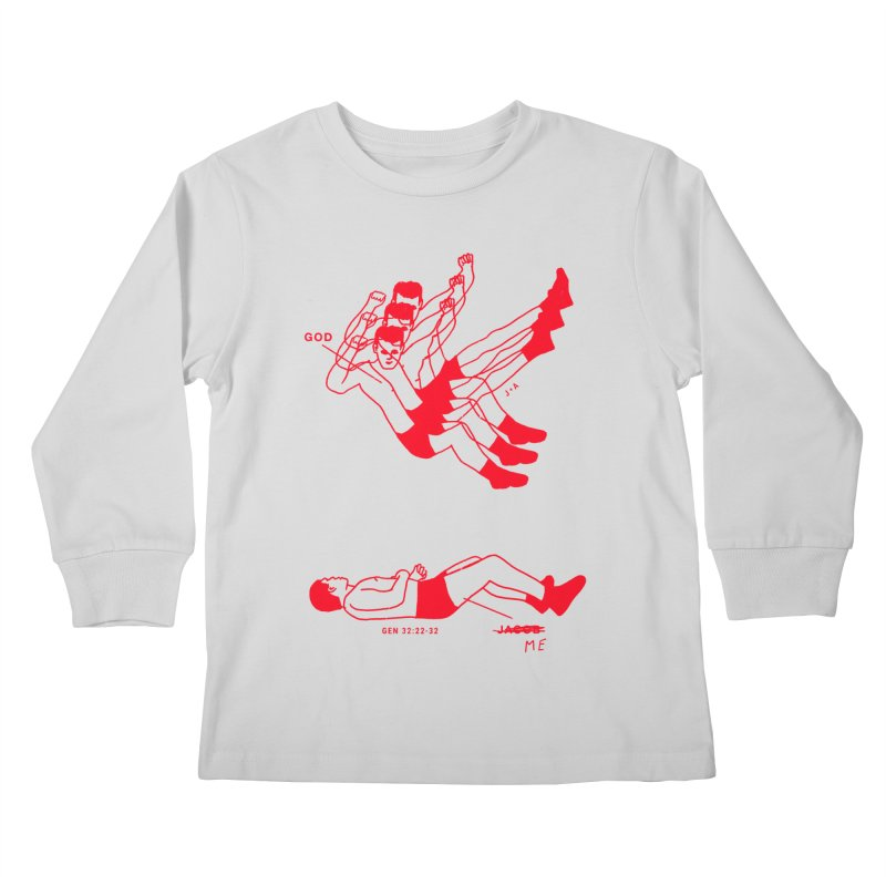 WRESTLING WITH GOD (RED) Kids Longsleeve T-Shirt by Jamus + Adriana