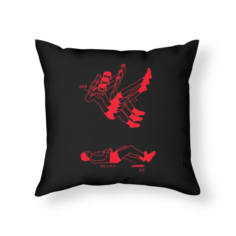 WRESTLING WITH GOD (RED) Home Throw Pillow by Jamus + Adriana