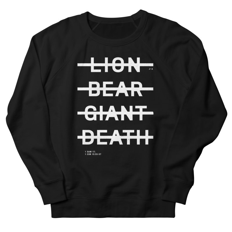LION, BEAR, GIANT, DEATH (WHITE) Men's French Terry Sweatshirt by Jamus + Adriana