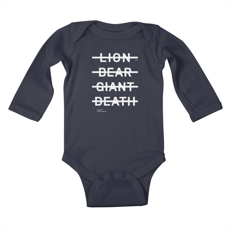LION, BEAR, GIANT, DEATH (WHITE) Kids Baby Longsleeve Bodysuit by Jamus + Adriana