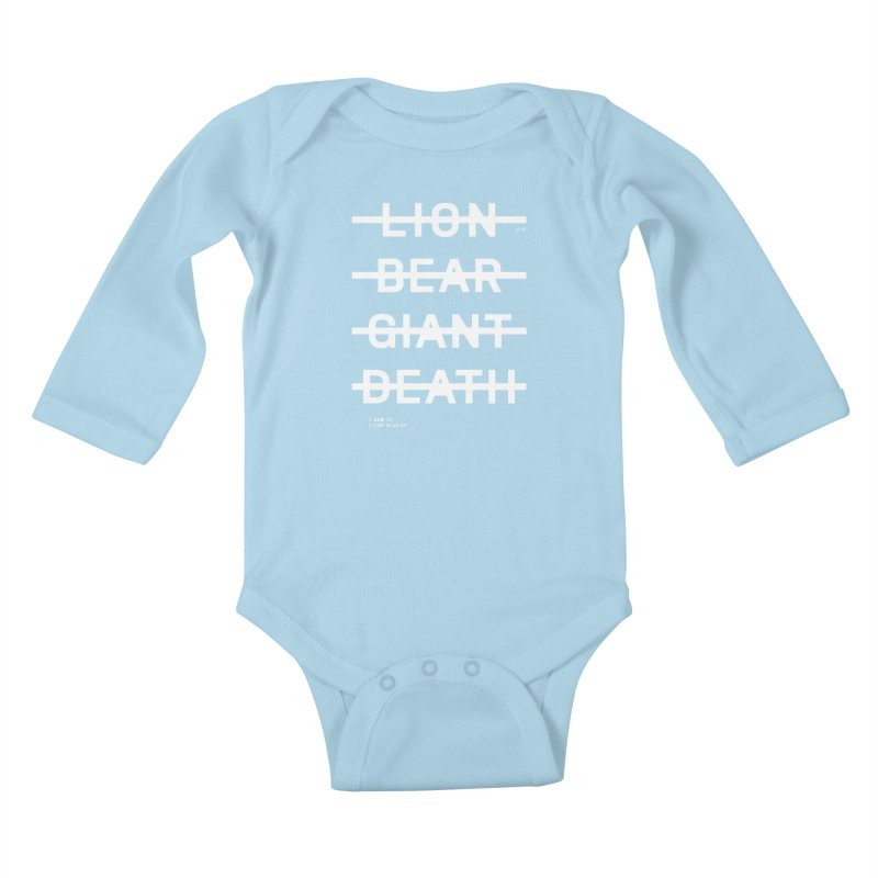 LION, BEAR, GIANT, DEATH (WHITE) Kids Baby Longsleeve Bodysuit by Jamus + Adriana