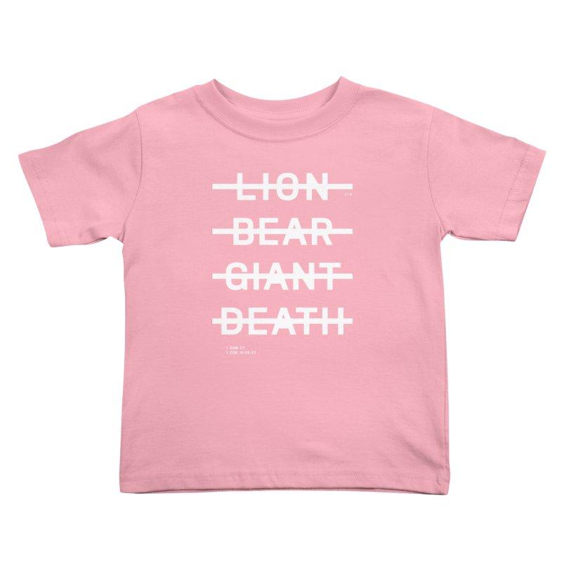 LION, BEAR, GIANT, DEATH (WHITE) Kids Toddler T-Shirt by Jamus + Adriana