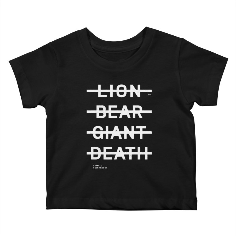 LION, BEAR, GIANT, DEATH (WHITE) Kids Baby T-Shirt by Jamus + Adriana