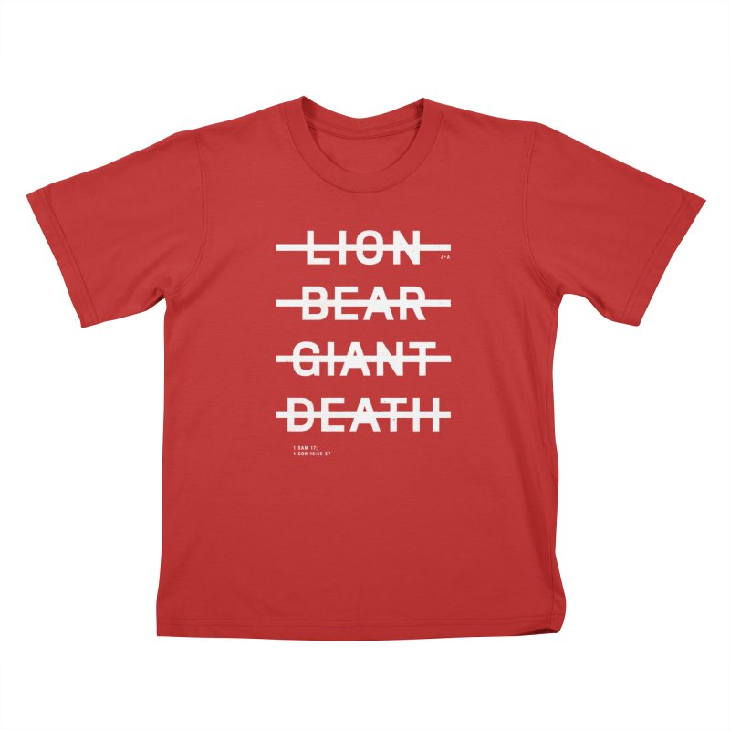 LION, BEAR, GIANT, DEATH (WHITE) Kids T-Shirt by Jamus + Adriana