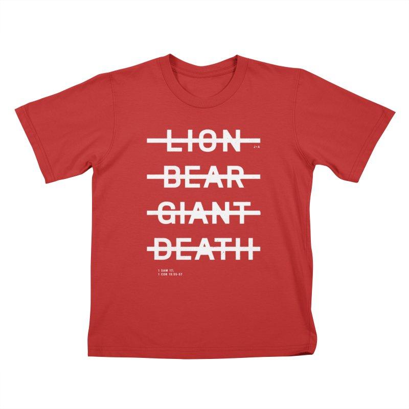 LION, BEAR, GIANT, DEATH (WHITE) Kids T-Shirt by Jamus + Adriana
