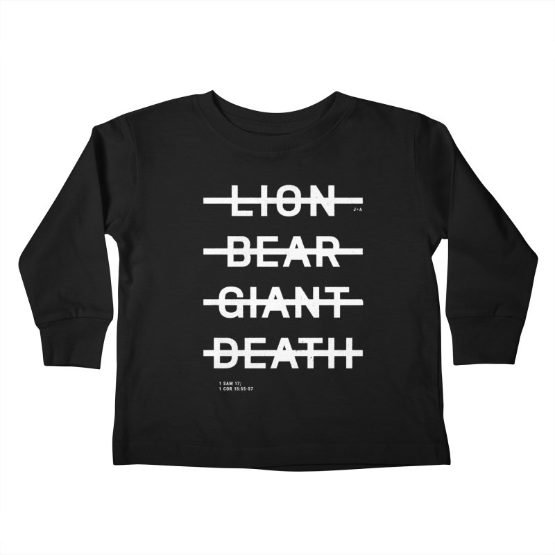 LION, BEAR, GIANT, DEATH (WHITE) Kids Toddler Longsleeve T-Shirt by Jamus + Adriana