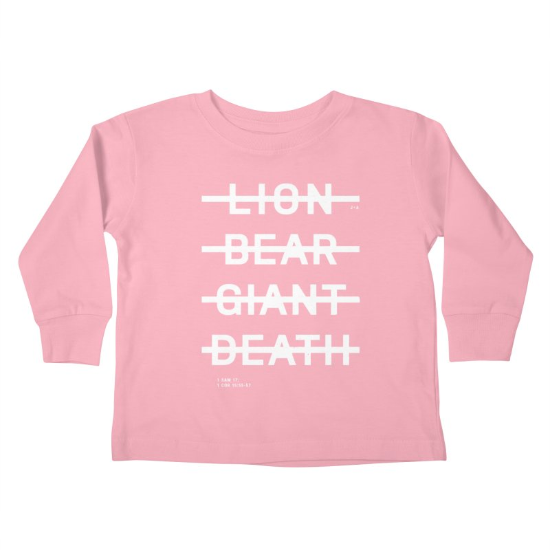 LION, BEAR, GIANT, DEATH (WHITE) Kids Toddler Longsleeve T-Shirt by Jamus + Adriana