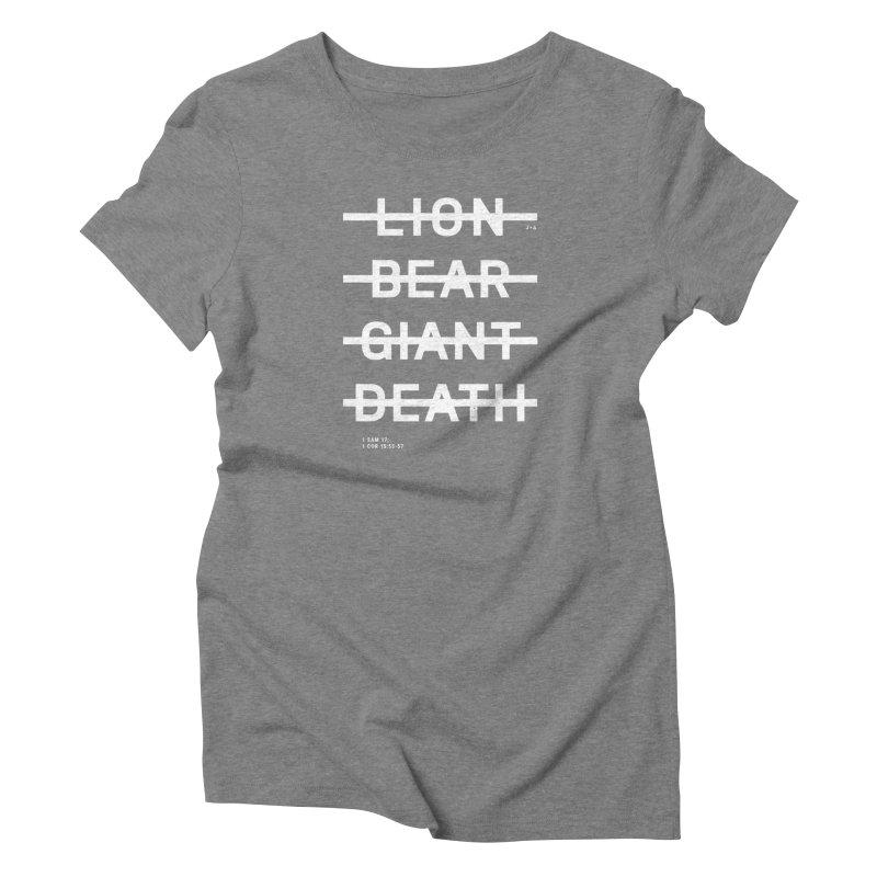 LION, BEAR, GIANT, DEATH (WHITE) Women's T-Shirt by Jamus + Adriana