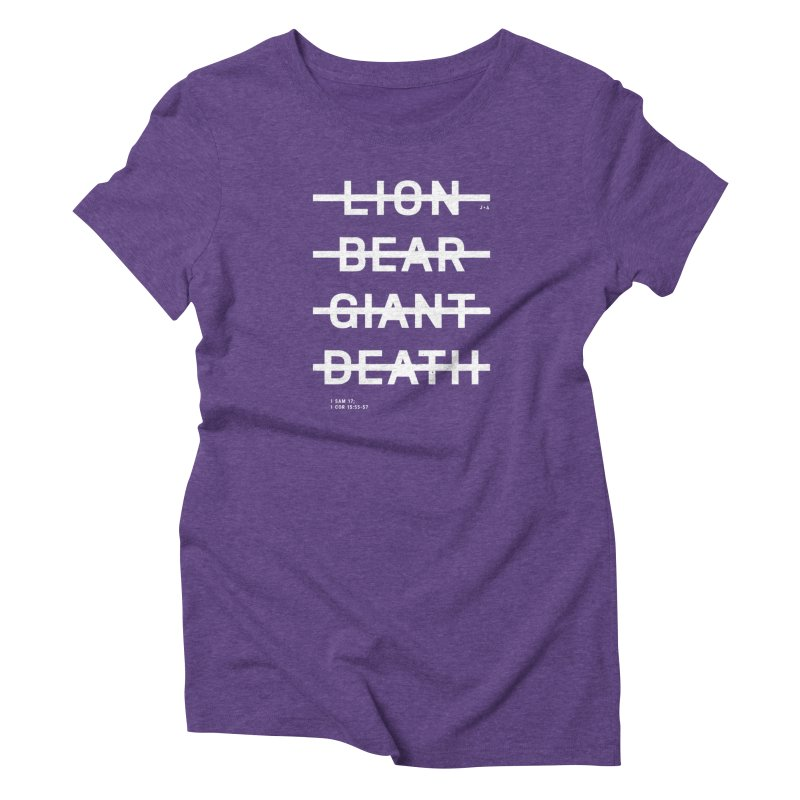 LION, BEAR, GIANT, DEATH (WHITE) Women's T-Shirt by Jamus + Adriana