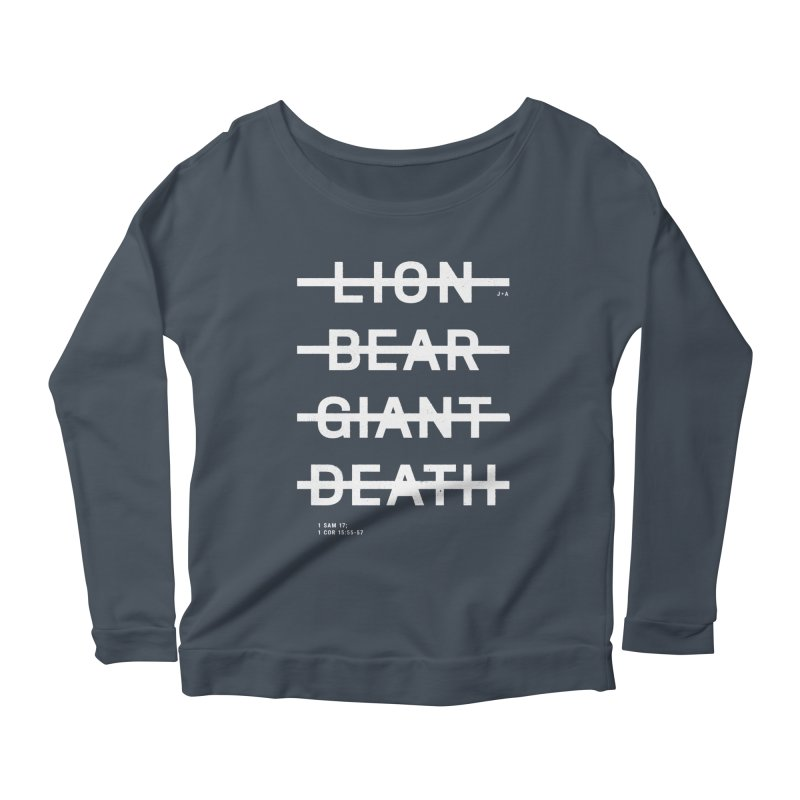 LION, BEAR, GIANT, DEATH (WHITE) Women's Scoop Neck Longsleeve T-Shirt by Jamus + Adriana