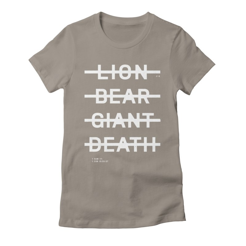 LION, BEAR, GIANT, DEATH (WHITE) Women's Fitted T-Shirt by Jamus + Adriana