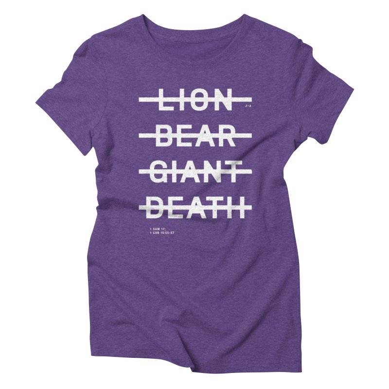 LION, BEAR, GIANT, DEATH (WHITE) Women's Triblend T-Shirt by Jamus + Adriana
