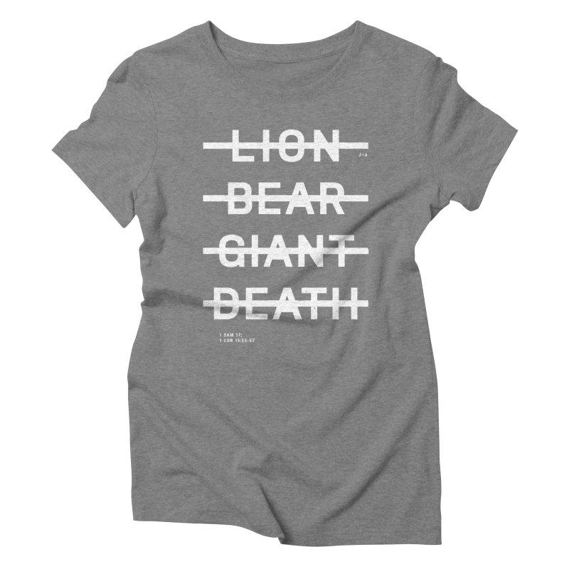 LION, BEAR, GIANT, DEATH (WHITE) Women's Triblend T-Shirt by Jamus + Adriana