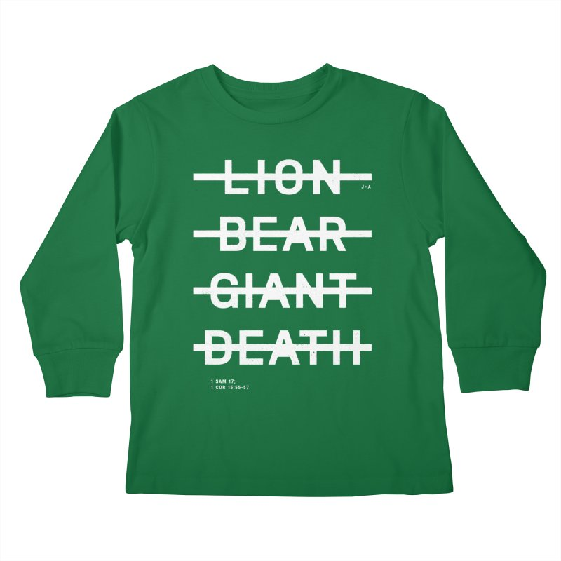 LION, BEAR, GIANT, DEATH (WHITE) Kids Longsleeve T-Shirt by Jamus + Adriana