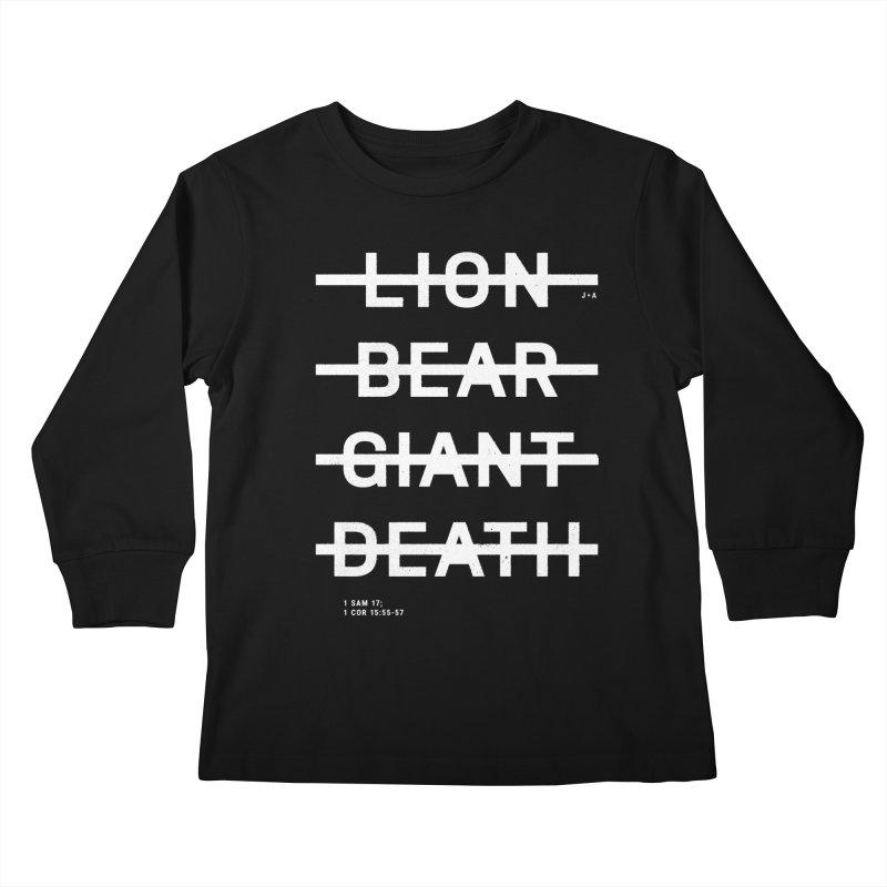 LION, BEAR, GIANT, DEATH (WHITE) Kids Longsleeve T-Shirt by Jamus + Adriana