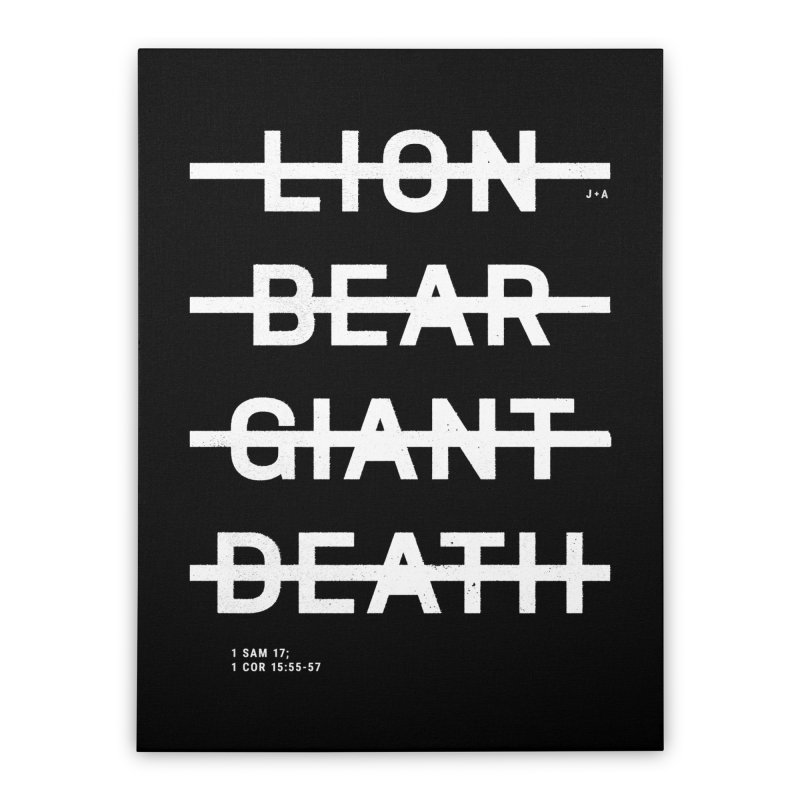 LION, BEAR, GIANT, DEATH (WHITE) Home Stretched Canvas by Jamus + Adriana