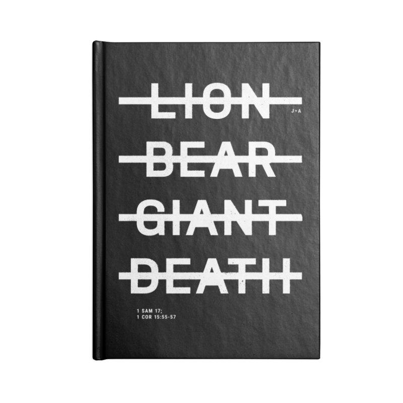 LION, BEAR, GIANT, DEATH (WHITE) Accessories Notebook by Jamus + Adriana