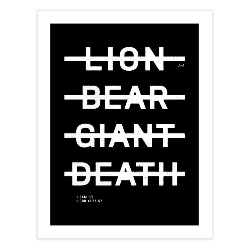 LION, BEAR, GIANT, DEATH (WHITE) Home Fine Art Print by Jamus + Adriana