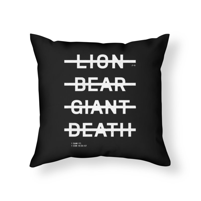 LION, BEAR, GIANT, DEATH (WHITE) Home Throw Pillow by Jamus + Adriana
