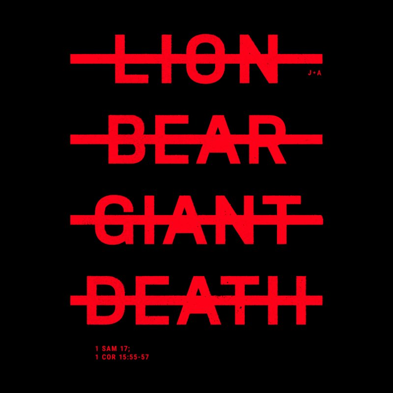 LION, BEAR, GIANT, DEATH (RED) Men's T-Shirt by Jamus + Adriana