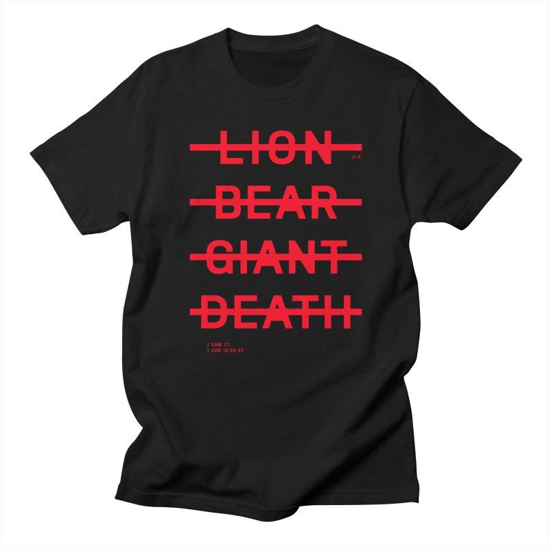 LION, BEAR, GIANT, DEATH (RED) Men's T-Shirt by Jamus + Adriana