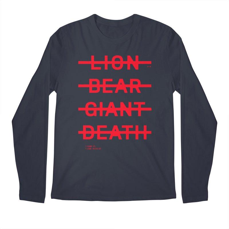 LION, BEAR, GIANT, DEATH (RED) Men's Regular Longsleeve T-Shirt by Jamus + Adriana