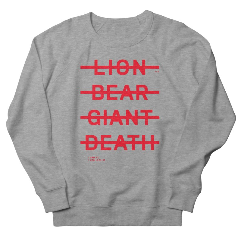 LION, BEAR, GIANT, DEATH (RED) Women's French Terry Sweatshirt by Jamus + Adriana
