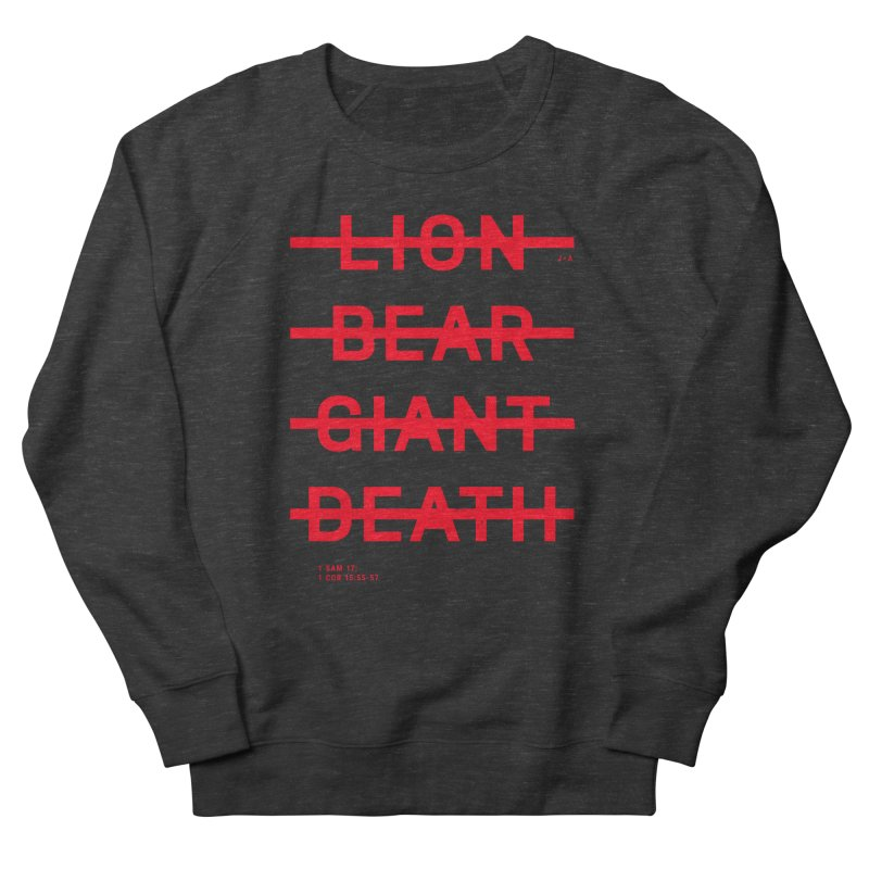 LION, BEAR, GIANT, DEATH (RED) Men's French Terry Sweatshirt by Jamus + Adriana