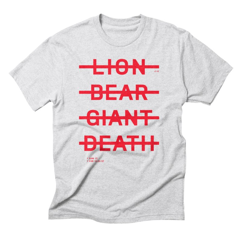 LION, BEAR, GIANT, DEATH (RED) Men's Triblend T-Shirt by Jamus + Adriana