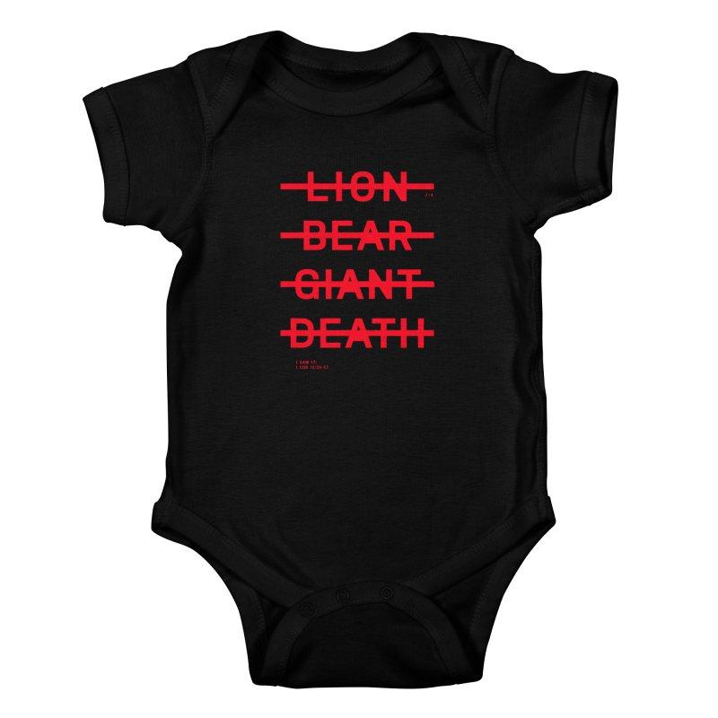 LION, BEAR, GIANT, DEATH (RED) Kids Baby Bodysuit by Jamus + Adriana
