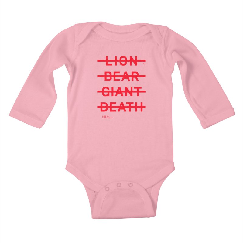 LION, BEAR, GIANT, DEATH (RED) Kids Baby Longsleeve Bodysuit by Jamus + Adriana
