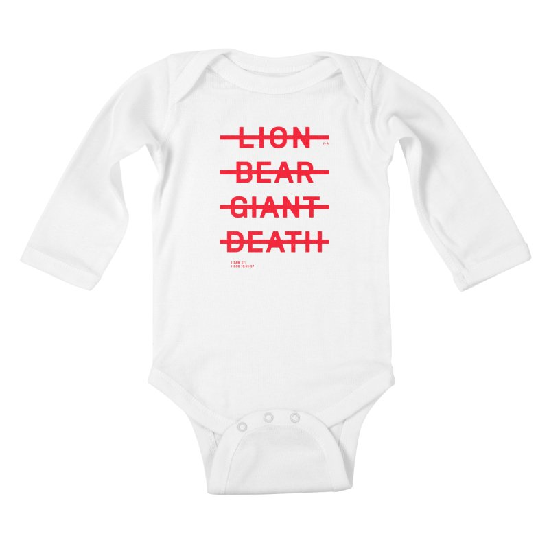 LION, BEAR, GIANT, DEATH (RED) Kids Baby Longsleeve Bodysuit by Jamus + Adriana