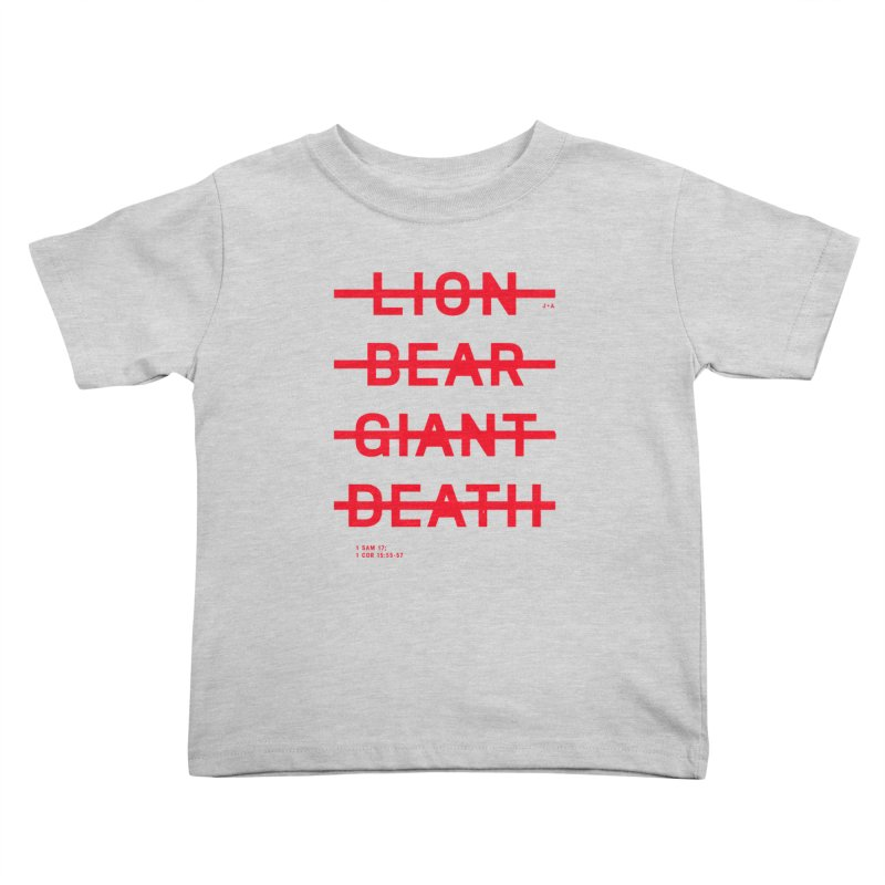 LION, BEAR, GIANT, DEATH (RED) Kids Toddler T-Shirt by Jamus + Adriana