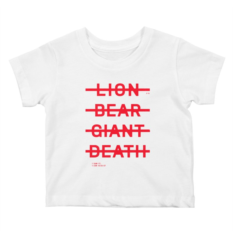 LION, BEAR, GIANT, DEATH (RED) Kids Baby T-Shirt by Jamus + Adriana