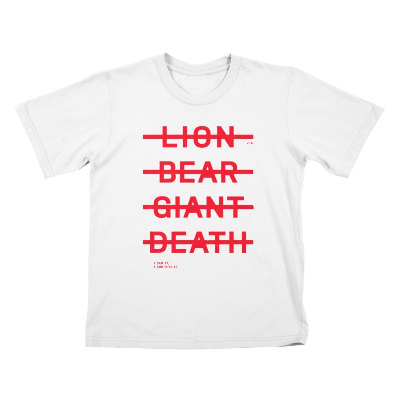 LION, BEAR, GIANT, DEATH (RED) Kids T-Shirt by Jamus + Adriana