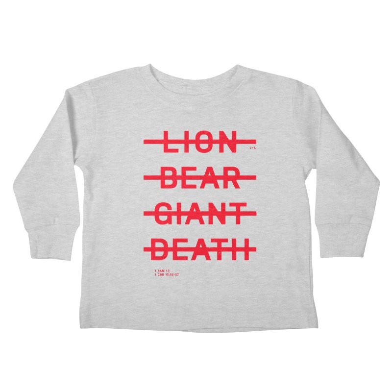 LION, BEAR, GIANT, DEATH (RED) Kids Toddler Longsleeve T-Shirt by Jamus + Adriana