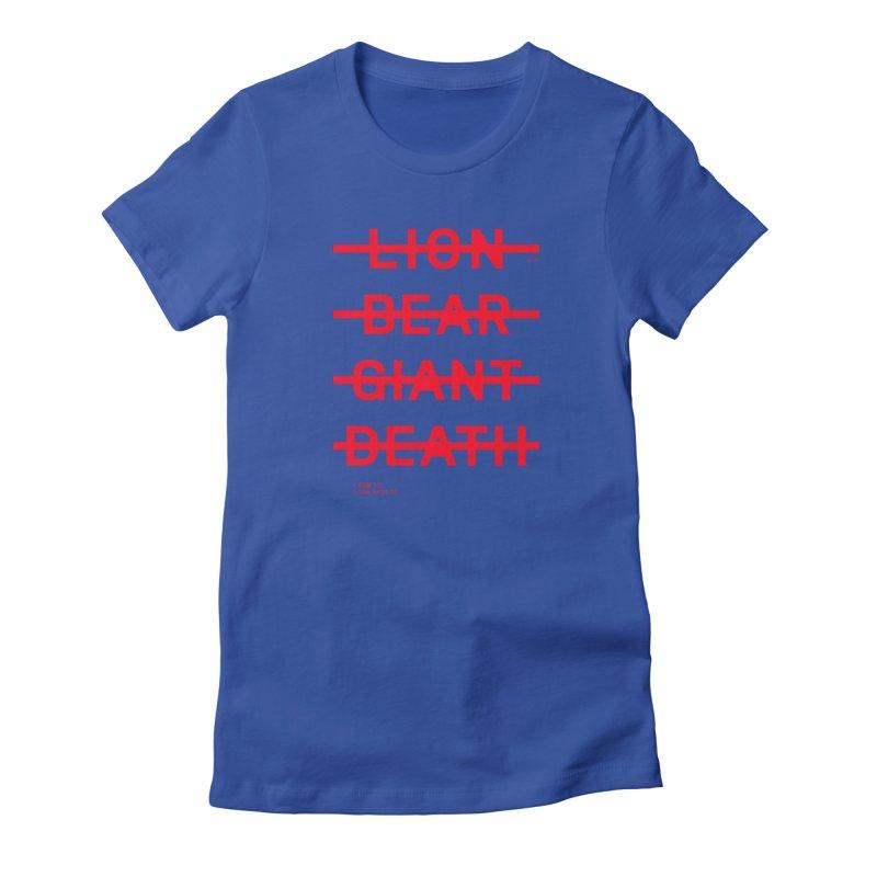 LION, BEAR, GIANT, DEATH (RED) Women's T-Shirt by Jamus + Adriana