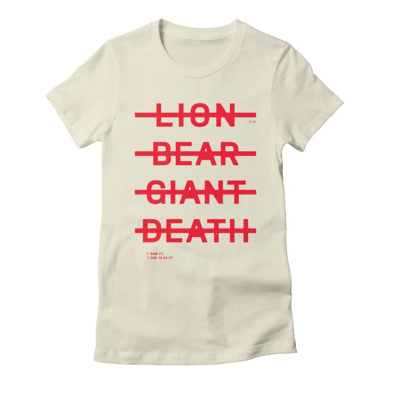 LION, BEAR, GIANT, DEATH (RED) Women's Fitted T-Shirt by Jamus + Adriana