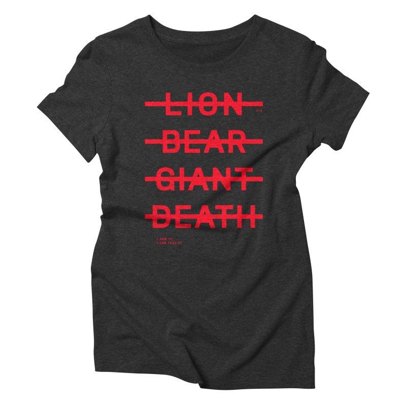 LION, BEAR, GIANT, DEATH (RED) Women's Triblend T-Shirt by Jamus + Adriana