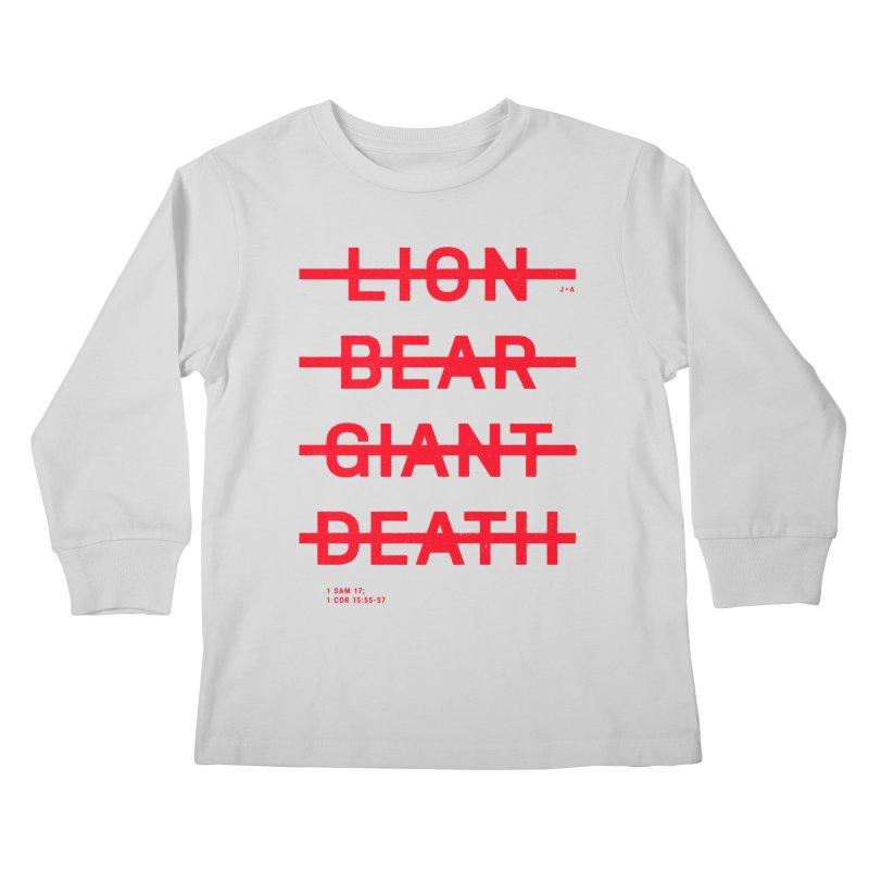 LION, BEAR, GIANT, DEATH (RED) Kids Longsleeve T-Shirt by Jamus + Adriana