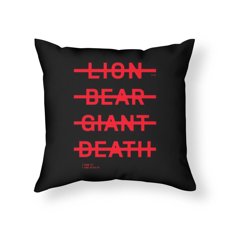 LION, BEAR, GIANT, DEATH (RED) Home Throw Pillow by Jamus + Adriana