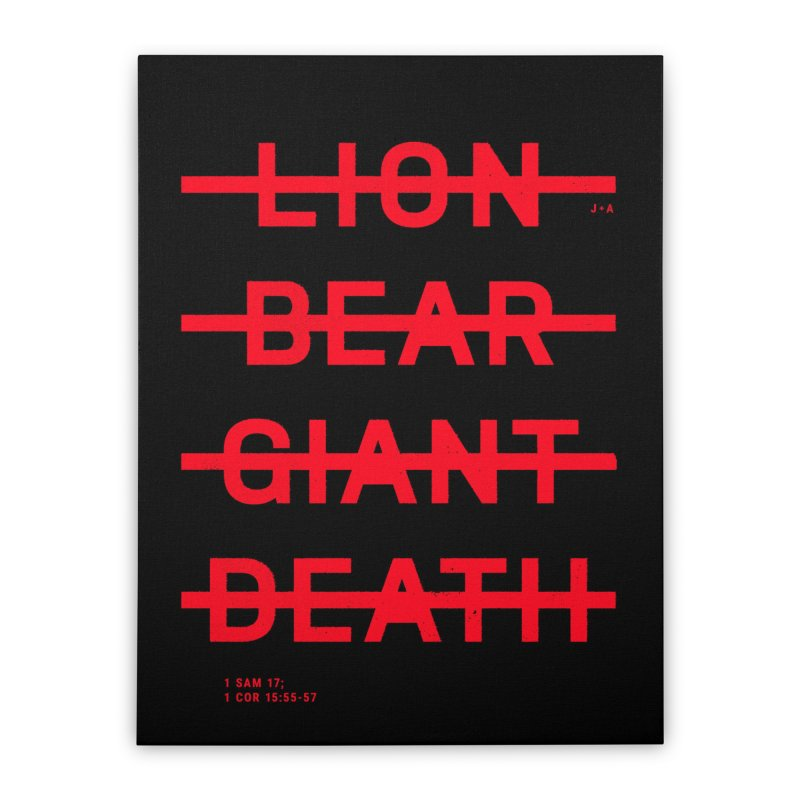 LION, BEAR, GIANT, DEATH (RED) Home Stretched Canvas by Jamus + Adriana