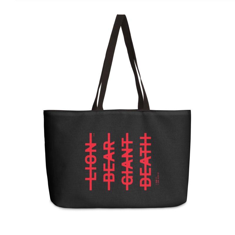 LION, BEAR, GIANT, DEATH (RED) Accessories Weekender Bag Bag by Jamus + Adriana