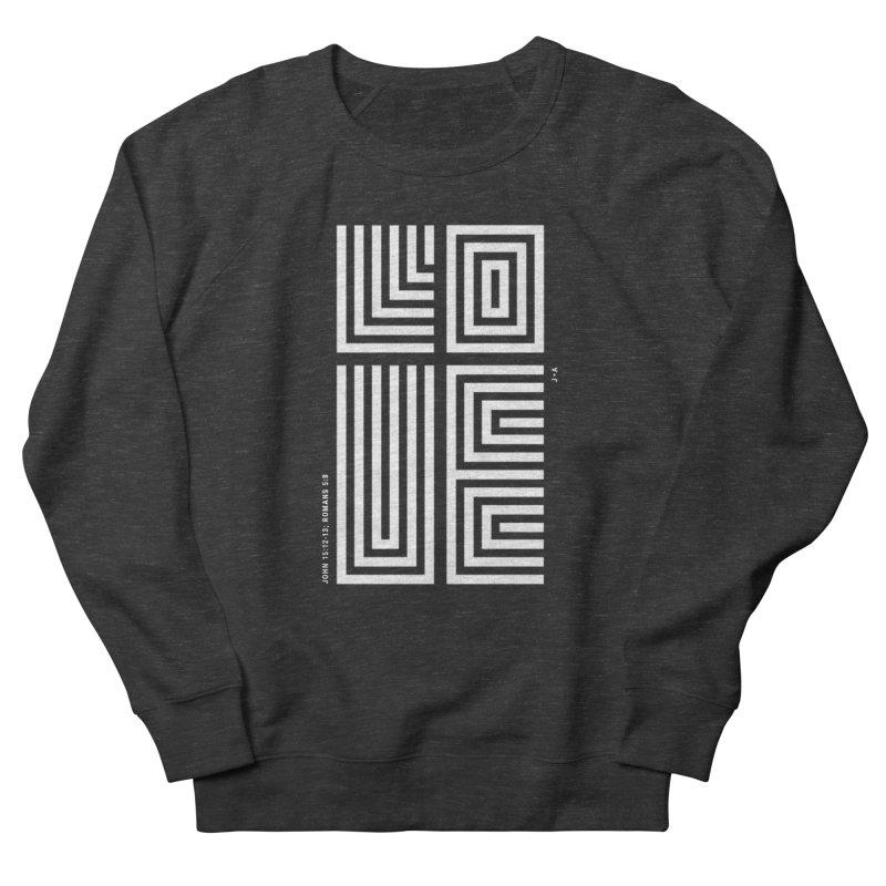 LOVE CROSS (WHITE) Men's Sweatshirt by Jamus + Adriana